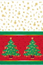 Golden Christmas Tree Design Party Plastic Tablecover